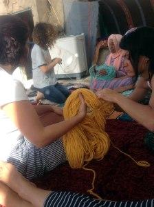 Preparando la lana
